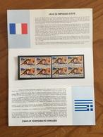 Pochette Philatélique D'émission Commune FRANCE-GRECE Jeux Olympiques D'Été - 1992 - Neuf - Souvenir Blocks & Sheetlets