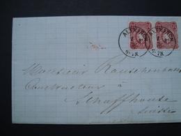 LETTRE DE ALTKIRCH POUR LA SUISSE1876 - Marcophilie (Lettres)