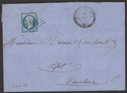 Pyrénées Orientales :Pli De 1865 Avec 20c Empire Dentelé Oblt GC 4414 + CàD Type 22 De BANYULS-S-MER - 1849-1876: Klassieke Periode