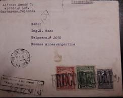 O) 1932 COLOMBIA, RECOMENDADA -RECOMMENDED, OIL WELLS -AMERICAN BANK NOTE -SC 412, EMERALD MINE SC 411, JOSE MARIA CORD - Colombia