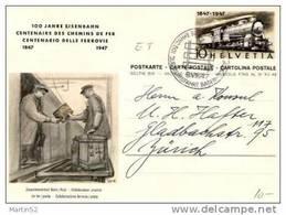 Schweiz Suisse 1947: Bild-PK/ 100 Jahre Eisenbahn (Bahn-Postauto) Mit O JUBILÄUMSFAHRT BADEN-ZÜRICH 9.VIII.47 (ERSTTAG) - Interi Postali
