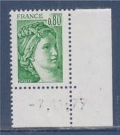 = Sabine De Gandon En Coin Daté -7.11.77 N°1970 Taille Douce Neuf 80c Vert - 1977-81 Sabine De Gandon