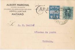 35936. Tarjeta Comercial Privada MATARÓ (Barcelona) 1929. Sello Recargo Exposicion - Barcelona