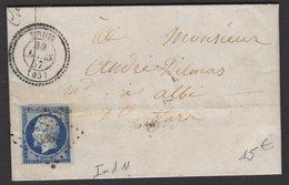 Pyrénées Orientales: Pli De 1857 De THUIR Avec 20c Empire Dentelé Oblt PC 3261 + CàD Type 22 De THUIR - 1849-1876: Klassieke Periode