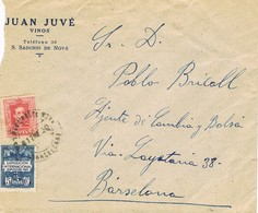35938. Carta Comercial Vinos SAN SADURDI DE NOYA (barcelona) 1930. Sello Recargo Exposicion - Barcelona