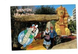 Cpm - MENTON - Fête Du Citron - 63eme - Groupe Folklorique LA MENTONNAISE - Illustration Astérix Obelix - Sphinx - Carnival