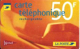 -CARTE PREPAYEE-FR-KERTEL-LA POSTE-50F-R° Logo Poste-V° N° Code Sur Fond Blanc-V° CotéDroit Vertical Kertel--TBE- - France