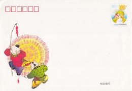 2 Entiers (gd Enveloppes LF 1 Et LF 2 1999) Neuves, à 100y, Garçons Avec Pétard Et Tableau De Rectangle Multicolores - 1949 - ... République Populaire