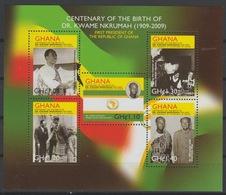 Ghana 2010 Mi. Bl. 4079 - 4091 Dr Kwame Nkrumah 1909 - 2009 First President Of The Republic Mao Zedong Tse-Tung China - Mao Tse-Tung