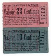 NIMES (GARD) // Compagnie De TRAMWAYS // 10 & 25 Centimes - Autres
