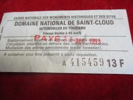Droit D'entrée/Domaine National De Saint Cloud/Automobiles DeTourisme/Caisse Nationale Des Monuments/Moore/ 1993  TCK174 - Cycling
