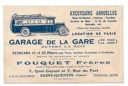 Publicité - SAINT QUENTIN - Garage De La Gare - FOUQUET FRERES - 7 Quai Gayant 7 Rue Du Port - Publicités