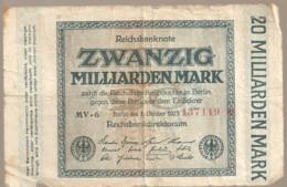 ALLEMAGNE / REICHSBANKNOTE DE 20 MILLARDS DE MARK TRES USAGE - 1918-1933: Weimarer Republik