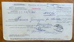 COSINA D'ISTRIA * 26/6/21 + CAPODISTRIA * 2a * 4 VII 21   Su  RICEVUTA DI RITORNO - Venezia Julia