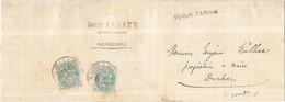 Bf - LSC 1904 Type Blanc X 2 Narbonne Pour Durban Cachet Henri Arnaud Avoué  Papiers D'affaires - Covers & Documents