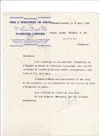 Courrier 1944 Vve René Daniel Fils, Plonéour-Lanvern, Finistère, à  Lucien Foucauld & Cie, Distillateur, Cognac - Alimentaire