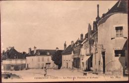 CPA, Vermenton (Yonne , 89) , La Place Du Thureau Et La Poste, éd Toulot, ND Photo, écrite En 1915, Timbres - Vermenton