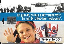 CARTE¤-PUBLIC-F463Aa-50U-05/94-SO5-DN JD-Série N°A 44011520-Débarquement-WELCOME-UTILISE-TBE-Existe 6 Séries - France
