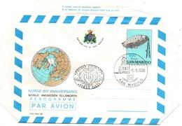 Aérogramme Dirigeable Norge Amundsen 1986 - FDC - Zeppelin Ballon - Pole Nord Arctique - Postwaardestukken