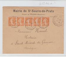 Conv Bordeaux à Bergerac / LSC De MAIRIE DE St SEURIN DE PRATS De 1924 TB - Storia Postale