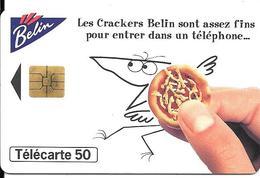 CARTE-PUBLIC-50U-F 610-SO3-DN JG-12/95-BELIN CRACKERS-N° En Vague-N°Puce Commence 6-Utilisé-TBE- - 1995