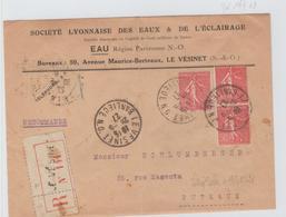 """LE VESINET """" BANLIEUE """" / LRec De 1927 Au Tarif Pour Puteaux  TB - Storia Postale"""