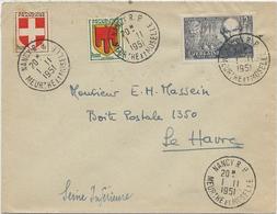 LETTRE AFFRANCHIE N° 836+837+909 OBLITEREE CAD NANCY RP -MEURTHE ET MOSELLE -1951 - 1921-1960: Modern Period