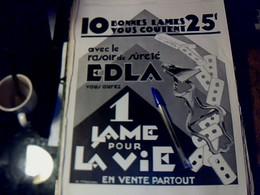 Publicité De Presse 30 X 40 Cm Année 1928 Lames De Suretée EDLA - Publicités