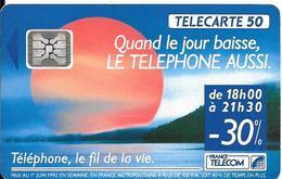 CARTE-PUBLIC-F280a--50U-SC4-Trou 6-08/92-SOLEIL ROUGE-V°-5TGE-42186-UTILISE-TBE RARE - France
