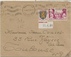 LETTRE AFFRANCHIE N° 898 + N° 903  OBLITEREE FLAMME CHEQUE POSTAL -PERPIGNAN  ANNEE 1951 - 1921-1960: Periodo Moderno