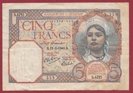 Algérie 5 Francs Du 11/09/1940.A Dans L 'état - Algerije