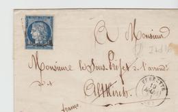 Yv N° 4 Obl. GRILLE / LAC De FERRETTE Pour  Altkirch , Ind 16 TB - Marcophilie (Lettres)