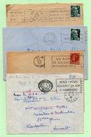 4 OBLITERATIONS FLAMMES : Période 1940/45 - Sur ENVELOPPES - - Marcophilie (Lettres)