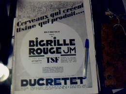 Publicité De Presse 30 X 40 Cm Année 1928  Tsf Bigrille Rougeum De DUCRETET Vs Concréta & Jean Renou Art - Publicités
