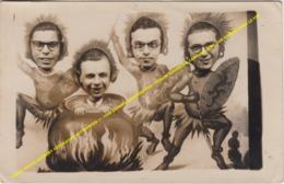 CARTE PHOTO GEVAERT FOTOKAART ANTWERPEN +/- 1948 ANVERS SINKSENFOOR / HUMOR KERMESSE CANNIBALISME / UN HOMME DANS LE POT - Humor