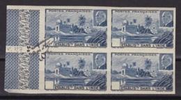 """Ets Dans L'Inde  Epreuve Du N°127 En Bloc De 4  """"bon A Tirer  2e Reimpression - Indië (1892-1954)"""