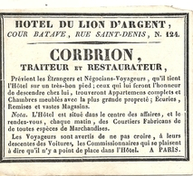 HOTEL DU LION D'ARGENT . PARIS .RARE - Publicités