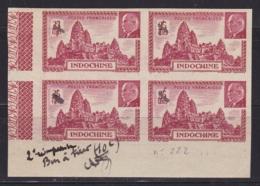 """Indochine Epreuve Du N°222 En Bloc De 4 """"bon A Tirer 2e Reimpression (valeur Inversée Voir N°223) - Indochine (1889-1945)"""