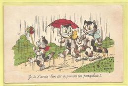 """Carte De Gemaine Bouret ? Signe """" Emy """" : Chats Humanisés - Je Te L ' Avais Bien Dit De Prendre Ton Parapluie ! - Bouret, Germaine"""