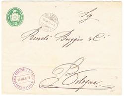 1878 25Rp Tüblibrief (waagrechter Bug) Banca Cantonale, Bellinzona Nach Bologna - Interi Postali