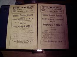 Cyclisme - 2 PROGRAMMES 1922 GRANDE REUNION CYCLISTE SAINT MANDE SPORTIF PISTE MUNICIPALE DU BOIS DE VINCENNES RARE ! - Cyclisme