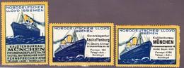 4 Vignetten Norddeutscher Lloyd, Schiffsmotiv, Rückseitig Haftspuren - Publicités