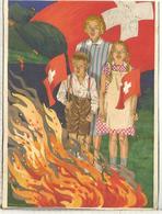 SUIZA ENTERO POSTAL 1930 FIESTA NACIONAL BANDERA FLAG FIRE HOGUERA - Omslagen
