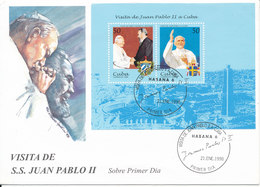 Cuba FDC 21-1-1998 Souvenir Sheet Pope Johannes Paul II Visit To Cuba - FDC
