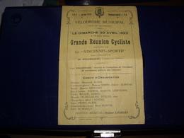 """Cyclisme - PROGRAMME 1922 GRANDE REUNION CYCLISTE """" VINCENNES SPORTIF """"  PISTE MUNICIPALE DU BOIS DE VINCENNES RARE ! - Cyclisme"""