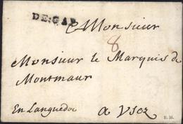 Marque Postale DE GAP Hautes Alpes 05 Lettre De Veyne 18 Jan 1735 Au Marquis De Montmaur Taxe Manuscrite 8 - Marcophilie (Lettres)
