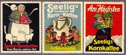 6 Werbevignetten Seelig's Kornkaffee Rückseitig Klebestellen - Publicités