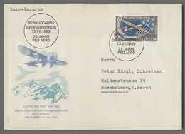 C5077 HELVETIA FDC 1963 25 JAHRE PRO AERO BERN LOCARNO GEDENKPOSTFLUNG VG - FDC