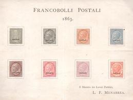 Regno, Foglietto Saggi Menabrea Del 1863          -CM19 - 1861-78 Victor Emmanuel II.