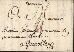 26 Drôme De Crest Manuscrit Lenain N1  9 Juil 1750 Taxe Manuscrite 4 Pour Grenoble - Marcophilie (Lettres)
